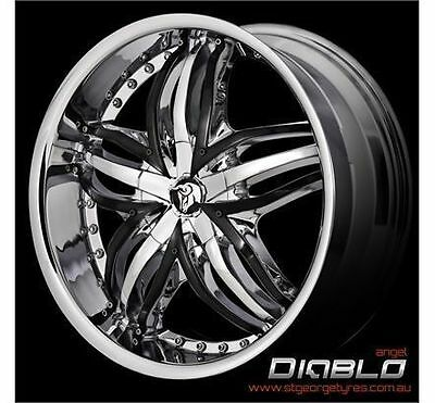 "22"" Diablo Angel New Release Chrome With Black Inserts  Wheels Only"