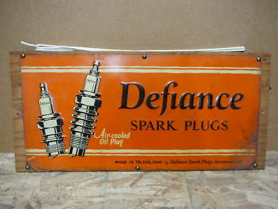 Vintage Defiance Spark Plugs Metal Sign