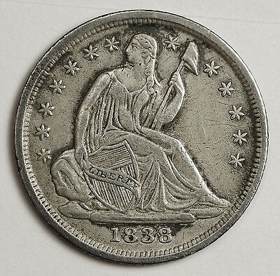 1838 Liberty Seated Half Dime.  Natural X.F.  103183