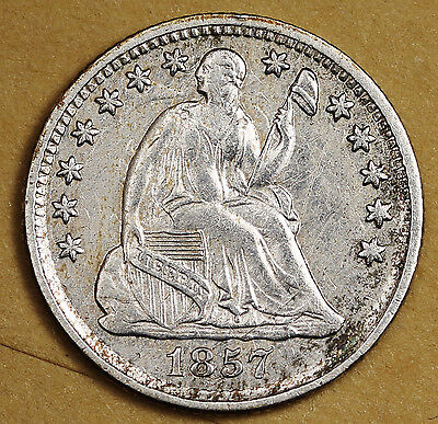 1857 Liberty Seated Half Dime.  A.U.  95992