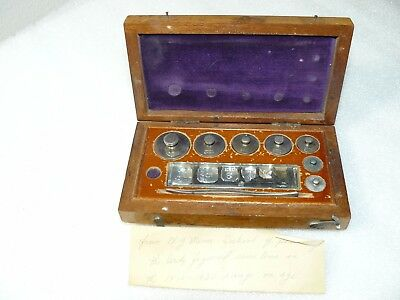 Vintage Arthur Thomas Co. Scale Calibration Weight Set In Wooden Case
