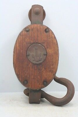 """Vintage Wood & Metal Anchor Single Pulley - 9 1/2"""" Long x 3"""" Wide"""