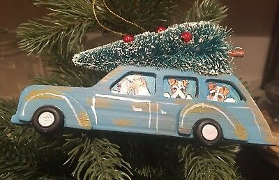 Fox Terrier Wood Wagon Ornament Hand Painted By Darci