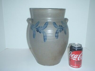 Antique Stoneware Pottery Jar With Cobalt Flower Possibly Virginia Tennessee