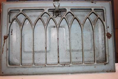 "Vintage Art Deco Metal Heater Grate 9 1/16"" by 14 1/16""  Turquoise  Paint"