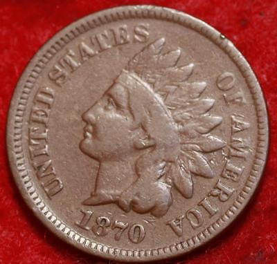 1870  Philadelphia Mint Copper Indian Head Cent Free Shipping