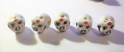 Porcelain Animal Beads, Baby Pigs , Approx. 15mm x 10mm-  Lot 5 , #154