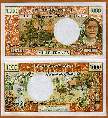 New Hebrides, 1000 Francs, P-20b ND (1975) French Colonial, Sign 2, UNC