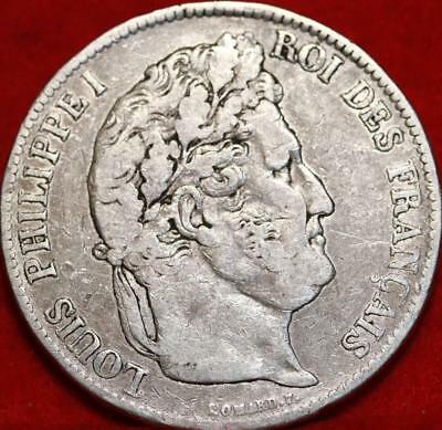 1838 France 5 Francs Silver Foreign Coin Free S/H