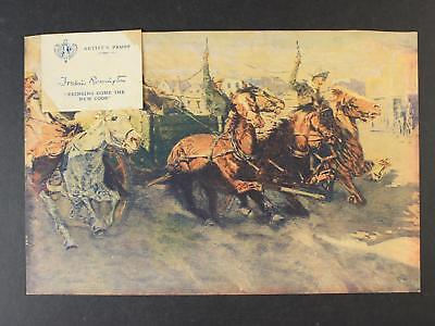 1912 ARTIST's PROOF FREDERIC REMINGTON BRINGING HOME THE NEW COOK PRINT