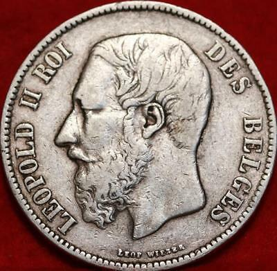 1871 Belgium 5 Francs Silver Foreign Coin Free S/H