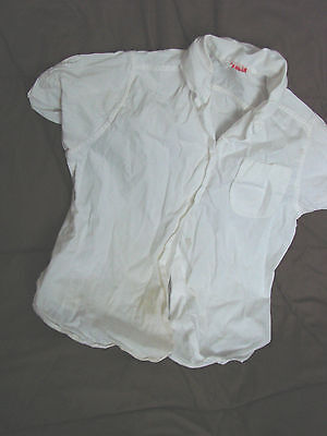 Vintage 50s 60s Girls Childs Top Blouse White Ship N Shore 8 Cotton