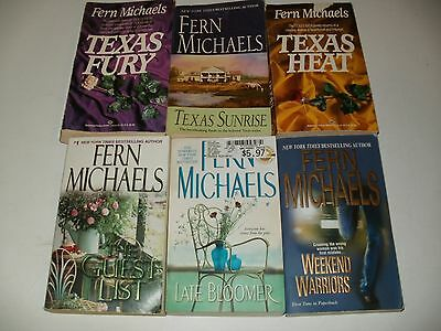 6 Paperback Books by Fern Michaels-Texas Sunrise,Heat, Fury, Late Bloomer & More