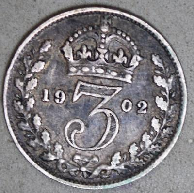 Great Britain 1902 3 Pence Silver Coin