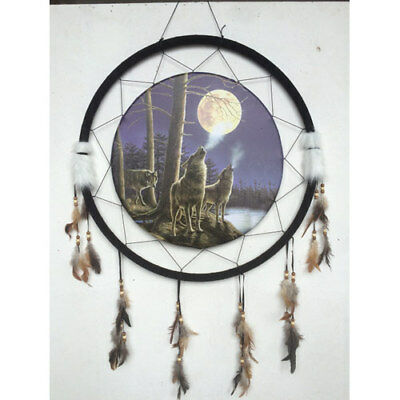 """Giant 26"""" Wolf Pack Howling At The Moon Night Scene Dream Catcher Feathers 2673"""