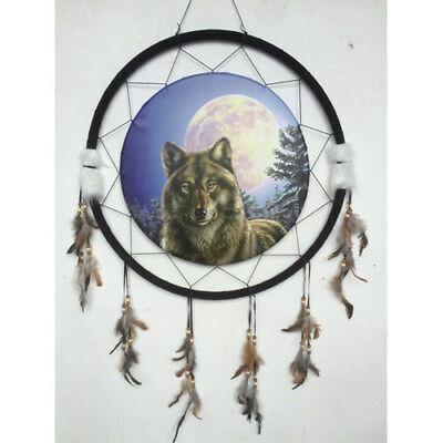 """Giant 26"""" Wolf Staring W/ The Moon Trees Night Scene Dream Catcher Feathers 2672"""