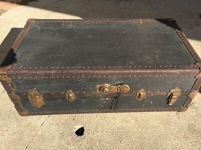 Antique Traveling Wardrobe Steamer Trunk made by Hartmann