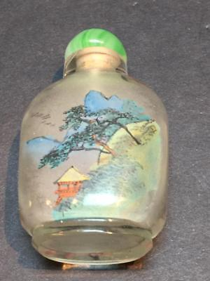 """Vintage Decorated Green Clear Glass Chinese Snuff or Perfume Bottle 2 1/2"""" Tall"""