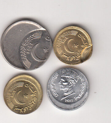 Pakistan Lot Of 4 Error Coins Re1,rs5 Aunc To Unc.
