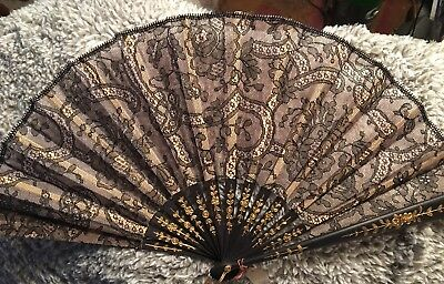 Antique French Lace Hand Fan / 8""