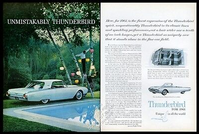 1961 Ford Thunderbird sky blue coupe pool party photo vintage print ad