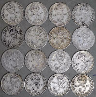 Great Britain 3 Pence Lot of 16 Silver Coins - Date Range 1915-1919