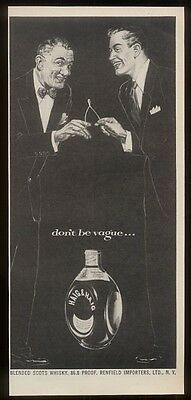 1953 Haig & Haig Scotch Whisky smiling wishbone men art 'don't be vague' ad
