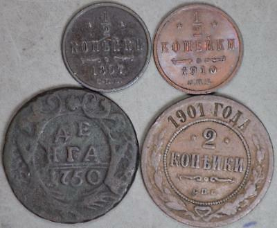 Russia Empire Lot of 4 Coins