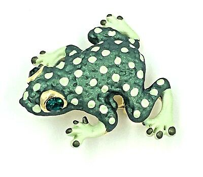 New Green Spotted Frog Pin Toad Swarovski Crystal Jeweled By Rucinni Brooch