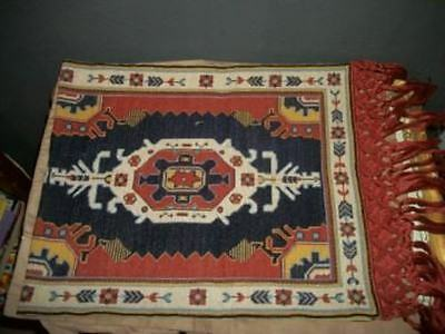 Vintage Aubusson Needlepoint Petitpoint Table Runner Rug Knotted Fringe Cottage