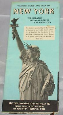 Vintage New York City NYC Visitor's Guide Fold-out Map 1962 Tourism 55 Yrs. OLD