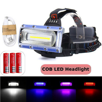 LED COB USB Rechargeable 18650 Headlamp Head Fishing Light Torch Flashlight 30W