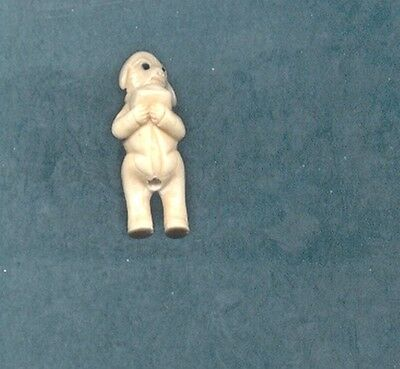 Standing Pig With Ingot Hand Carved  Japanese Ojime Bead  Miniature Figurine 857