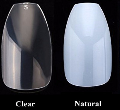 Short Full False Nails clear natural coffin ballerina * 100 or 500 * nail