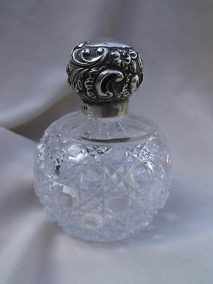 STUNNING ANTIQUE SILVER HOBNAIL PERFUME SCENT BOTTLE London 1894 Valentines Day