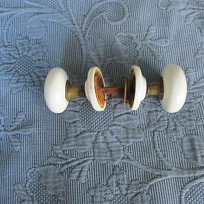 Two Antique Victorian White Porcelain Knobs & Knob Covers with Pin & Set Screws