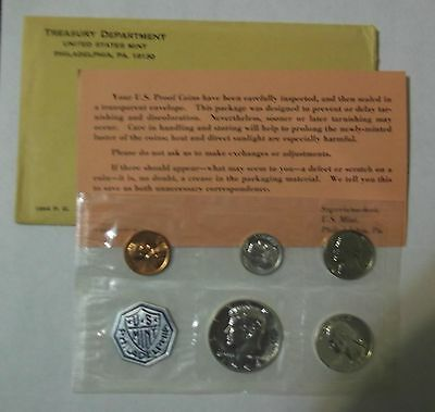 1964 U.s. Mint Silver Proof Set In Original Envelope & Wrapper With C.o.a.