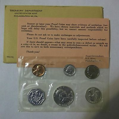1961 U.s. Mint Silver Proof Set In Original Envelope & Wrapper With C.o.a.