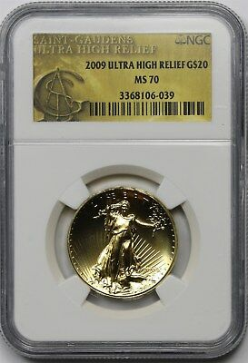 2009 UHR Ultra High Relief G$20 NGC MS 70 (Gold Double Eagle) W/ MINT BOX + COA