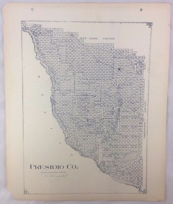 Antique General Land Office Map Presidio County Texas Showing Plats ++
