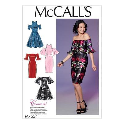 McCALL'S  SEWING PATTERN MISSES' OFF THE SHOULDER DRESSES DRESS SIZE 6-22 M7654