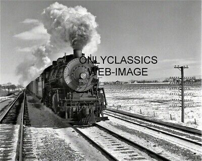 1943 RAILROAD TRAIN LOCOMOTIVE 8x10 PHOTO Rounding curve Topeka Western Duoro NM