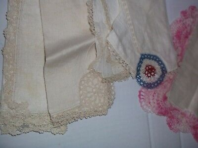 Vintage Crochet Lace and Tatting Hankie Ladies Handkerchief lot 5 Lovely