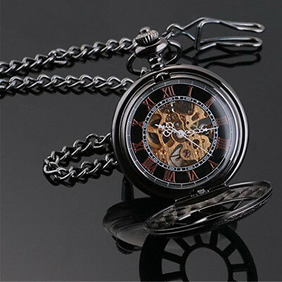 Black Antique Mechanical Skeleton Steampunk Women/Mens Pocket Watch Gift Chain