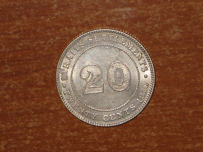 Straits Settlements 1910 B silver 20 Cents coin Extremely Fine