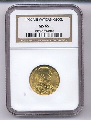 Vatican City 1929 100 Lire Gold Coin, Gem Uncirculated, Certified Ngc Ms-65