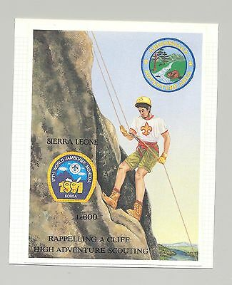 Sierra Leone #1446 Scouts, Mountain Climbing 1v S/S Imperf Proof on Card