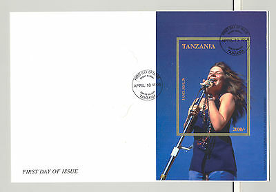 Tanzania #1439A Janis Joplin, Music 1v Imperf S/S on FDC
