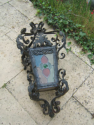 Huge French Vintage Wrought Iron Chandelier Lantern Porch Colored Stained Glass