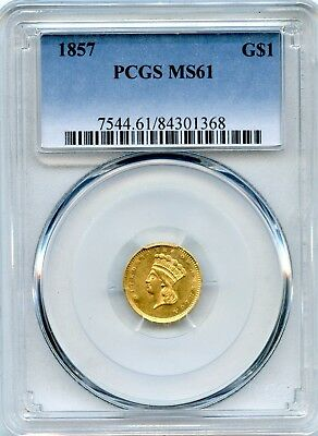 Outstanding 1857 PCGS MS 61 United States $1 Dollar 90% Gold Coin RR984